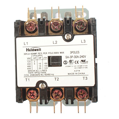 Purpose Contactor Standard 3 Pole (Holdwell SA-3P-30A-240V 3 Pole 20 Amp 25 Amp 30 Amp 240V Coil Definite Purpose Contactor)