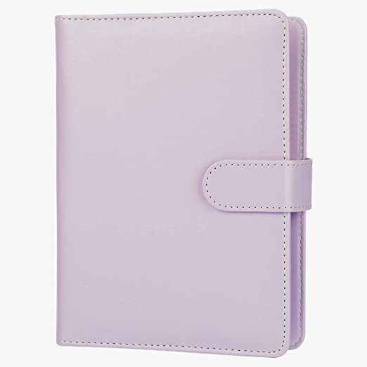 A5 Planner,A5 6-Ring Binder,Spiral Notebook Personal Organizer with Magnetic Button Harphia (Lavender, A5 9.06 x 7.28)