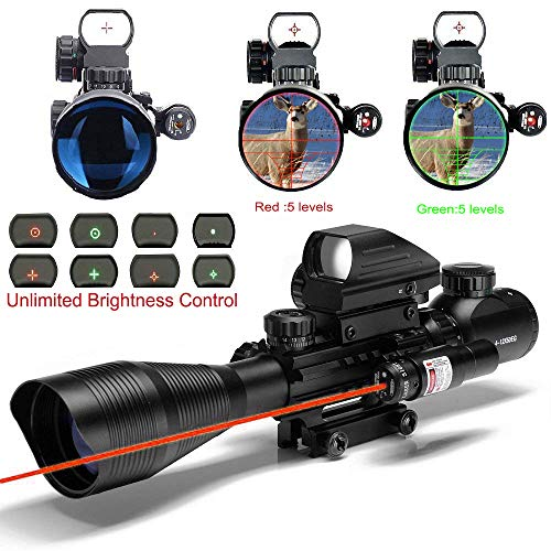MidTen 4-12×50 Dual Illuminated Scope with Dot Sight &Red Laser Sight & 20mm Mount
