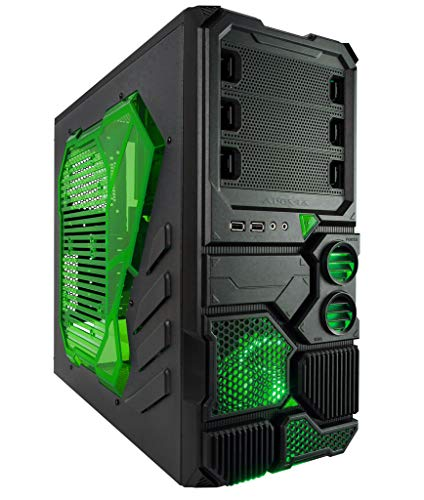 Apevia X-SNIPER2-GN ATX Mid Tower Gaming Case with Large Green Side Window, 1 x 120mm Green LED Fan, Front USB3.0/Audio Ports, up to 8 x Cooling Fan Space - Green
