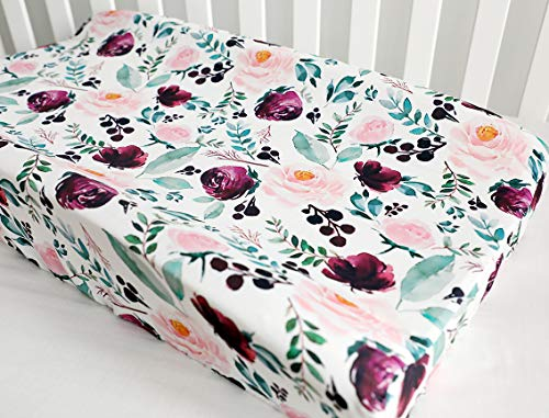 Baby Girls Boy Crib Bedding Changing Pad Cover Changing Table Pads (Pink Wine Floral)