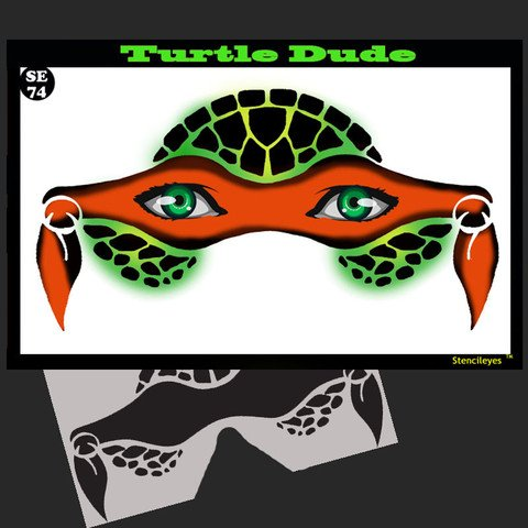 Face Painting Stencil - StencilEyes Turtle Dude - Heroic Turtle Mask ()