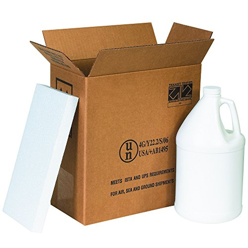 """Boxes Fast BFHAZ1131 Haz Mat Plastic 2-Gallon Jug Shipping Kit, Includes Foam Inserts and Plastic Jugs with Caps, 12"""" x 6"""" x 12 3/4"""""""