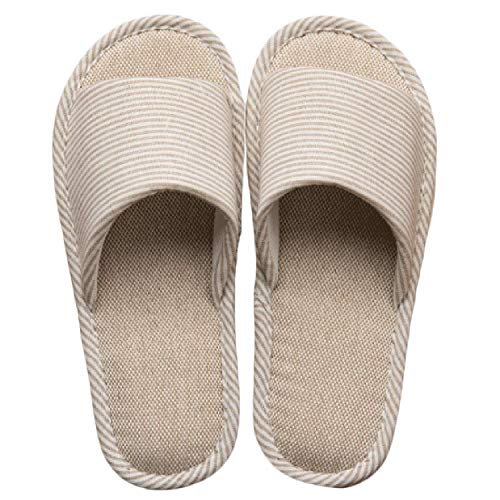 LYMMC House Slippers,Women's and Men's Cotton Causal Soft Slippers Anti-Slip for Indoor and Outdoor (245mm(US6.7-7.5), Coffee)