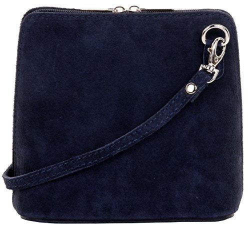 Primo Sacchi cuir Suede italien petit/micro sac de carrosserie ou sac à bandoulière sacs à main. Comprend un sac de rangement de marque Bleu Marine