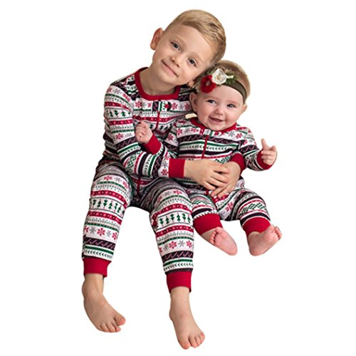 Muxika Newborn Infant Baby Boy Christmas Print Pajamas Brother Clothes Outwear (3T, Red-Big (Kids Clothes For Christmas)