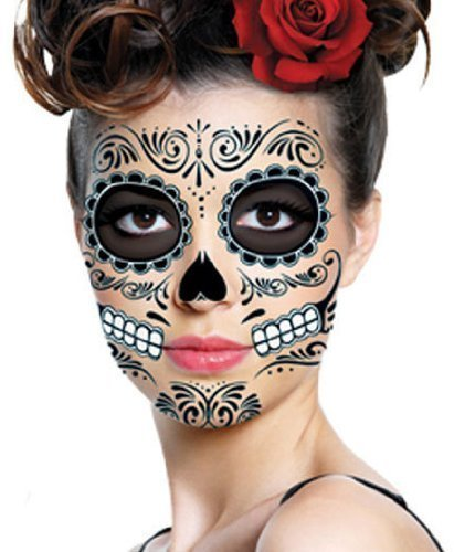 Black Skeleton Day of the Dead Temporary Face Tattoo Kit: Men or Women - 2 Kits (Quest Nose Mask)