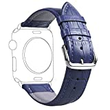 Fose Crocodile Pattern Genuine Leather Watch Band Strap for Apple Watch 38mm - Blue