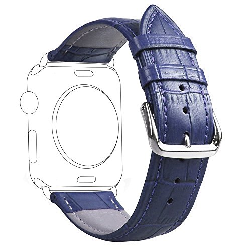 Fose Crocodile Pattern Genuine Leather Watch Band Strap for Apple Watch 38mm - Blue by Fose