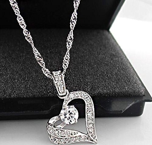 Latigerf Women Sterling Silver Heart Pendant Necklaces Cubic Zirconia White