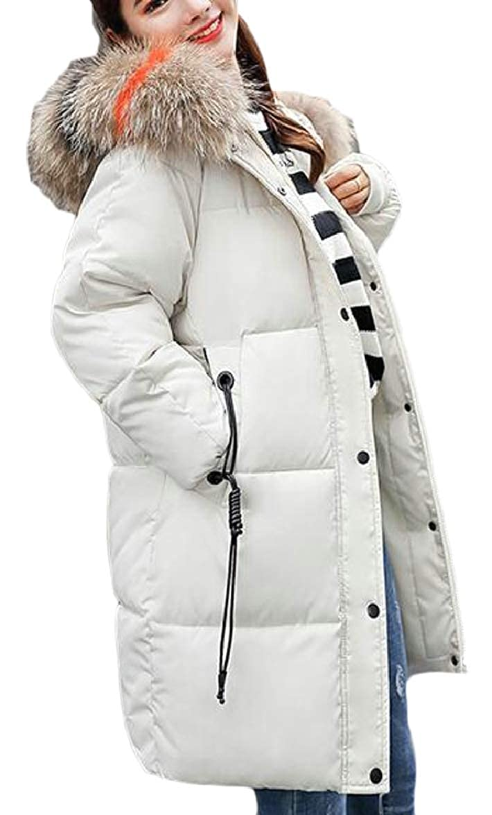 3 ouxiuli Women Loose FauxFur Collar Thicken Outerwear Padded Down Jacket Coat