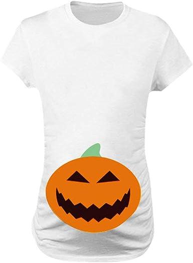 Ropa Premamá Camisetas de Manga Corta Mujer Halloween Manga Corta ...
