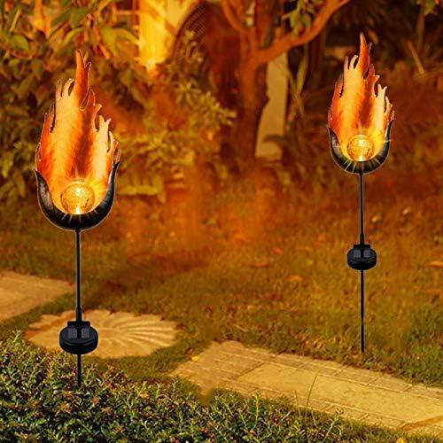ZGYQGOO Solar Flame Light Solarbetriebene Metall LED LED Außen Gartenleuchte Outdoor Flame Effect Feature Rasen Ornament Solar Garden Lampe