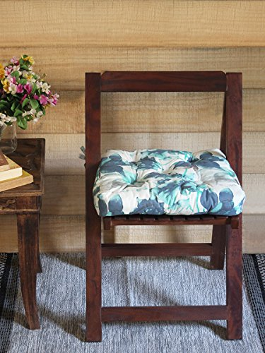 Chair Cushion Pad Square Seat Stool Pure Cotton Stuffed Soft Multicolored Floral Design Printed Floor Cushion for Comfort Office Home Living Room Decor 16 X 16 (Halloween Party Ideas Senior Citizens)