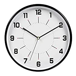 HITO 12 Inches Silent Non-ticking Wall Clock w/ Metal Frame and Acrylic Front Cover (Black)