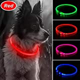 Illumifun LED Dog Collar, TPU Cuttable USB Rechargeable Light Up Collars, 360 Degree Glowing Pet Collar Make Your Dogs Seen & Safe at Night(Ruby Red)