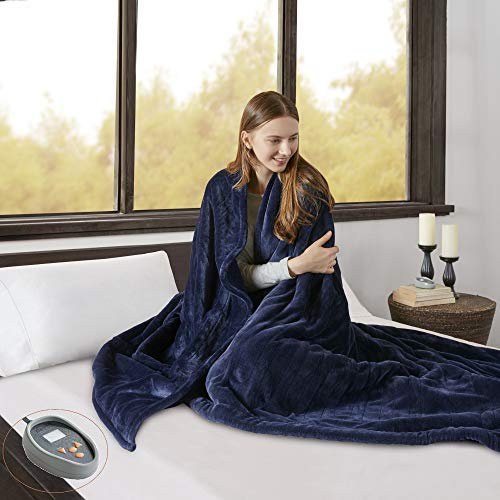 Beautyrest Microlight to Berber Elect Electric Blanket with Two 20 Heat Level Setting Controllers, Full, Indigo