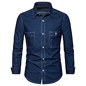 AOMO LOVE Men's Long Sleeve Denim Solid Shirt Cotton Casual Double-Pocket Shirt Blue Work Slim Fit Shirt