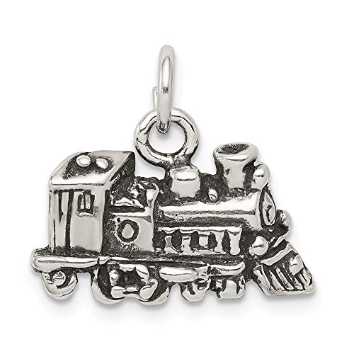 Train Solid 10k Gold (Sterling Silver Antiqued Train Charm Solid 20 mm 14 mm Pendants & Charms Jewelry)