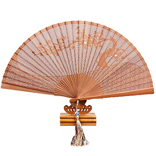 GWXLD Folding Fan Pattern Hollow Retro Bamboo Wood Carving Wall Decoration- 8.7 Inches 16 Inches C