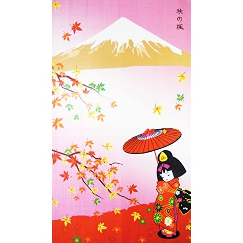 New Kawaii Girl Maple-leaf Romantic Fall Landscape Pattern Door Curtain Japanese Noren Curtain Bedroom Curtain supplier