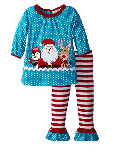 [MowMee Kids Girls Christmas Santa Claus Applique T-shirt and Striped Leggings Outfit Set 100] (Christmas Outfit)