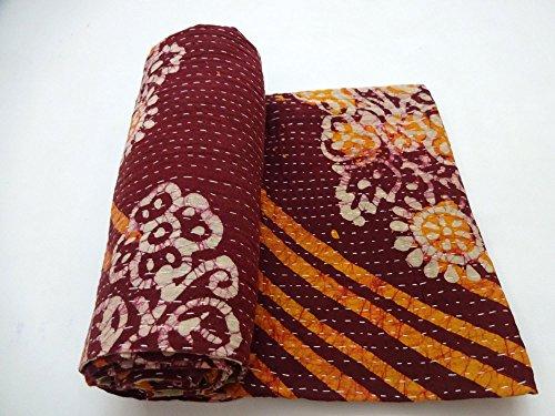 Vintage Kantha Quilt Embroidered Indian Cotton Bedspread Stylish Bedding Ralli