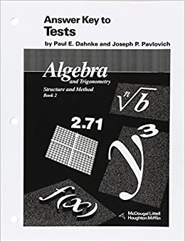 Amazon mcdougal littell answer key to tests algebra and amazon mcdougal littell answer key to tests algebra and trigonometry stucture and method book 2 mcdougal littell structure method 9780395470619 fandeluxe Image collections