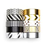 UNIQOOO Adhesive Washi Tape Masking Tape Set of 10 Rolls, Metallic Foil Gold Silver Black, 32 Feet Each Roll- Perfect for Crafting DIY, Gift Wrapping, Scrapbook, Bullet Journal Planner Decoration