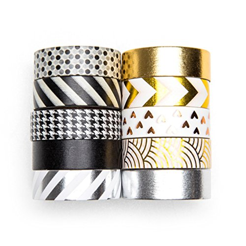 UNIQOOO Adhesive Washi Tape Masking Tape Set of 10 Rolls, Metallic Foil Gold Silver Black, 32 Feet Each Roll- Perfect for Crafting DIY, Gift Wrapping, Scrapbook, Bullet Journal Planner Decoration ()
