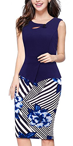 HOMEYEE Women's Elegant Chic Bodycon Formal Dress B288 (3XL, Dark Blue + Floral)