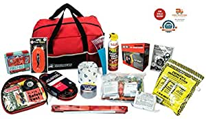 AutoClubHero Car Emergency Kit 185pcs - Premium Roadside Emergency Kit with Car Survival Gear - Includes First Aid, Jumper Cables, Fire Extinguisher, Emergency Food, Water, Mylar Blanket & More