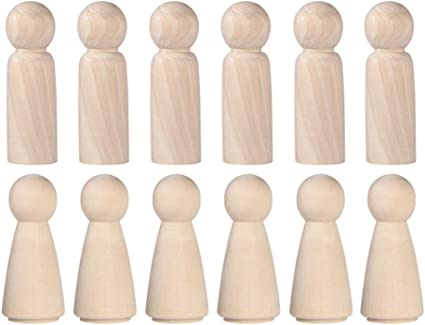 Pkg of 12 unfinished wooden peg stands angel doll stand wood craft supplies