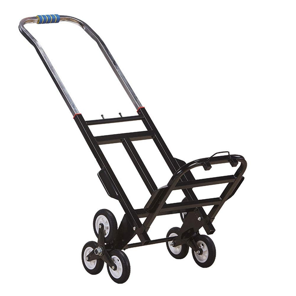 LNYJ Hand cart Climbing Trolley Trailer Pull Goods Folding Portable Grocery Shopping cart Pallet Truck Shopping Trolley Rubber Wheel Baggage, Heavy Cargo Truck pu Wheel can be Stretched