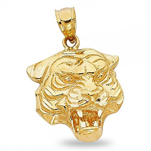 GemApex Solid 14k Yellow Gold Tiger Head Pendant Big Cat Charm Polished Mens Design Jewelry 24 x 13 mm