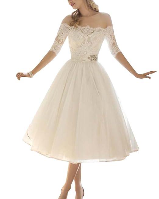 Anyu Mujer Hombros Desnudos Vestidos de Fiesta para Bodas Elegante Encaje Vestido de Noche Blanco S