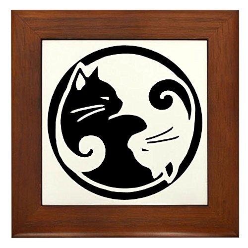 (CafePress Yin Yang Cats Framed Tile, Decorative Tile Wall Hanging)