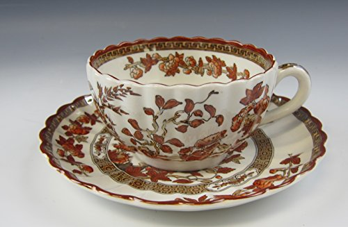 - Spode China INDIAN TREE-RUST OLD BACKSTAMP Cup and Saucer Set VERY GOOD