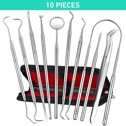 Dental Tools, ElleSye 10 PACK Stainless Steel Dental Pick Dental Hygiene Kit Set Tongue Scraper, Tooth Scraper Tartar Dental Scaler Tweezers Mouth Mirror for Personal & Pet Oral Care Use