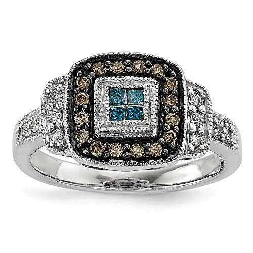 Sterling Silver 3 MM White Night Collection Antiqued Square White, Champagne and Blue Diamond Ring, Size 6 (0.33 CTW) ()