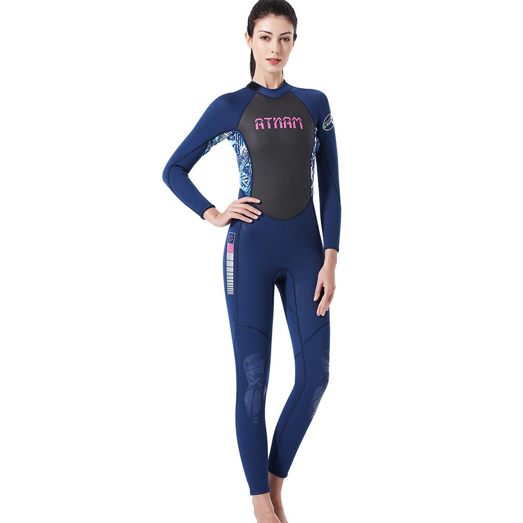 Women's Keep Warm Sunscreen Swimming,Surfing and Snorkeling Diving One-Piece Coverall Suit (L, Blue)