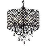 Edvivi Marya 4-Light Antique Black Round Beaded Drum Shade Crystal Chandelier Ceiling Fixture | Glam Lighting
