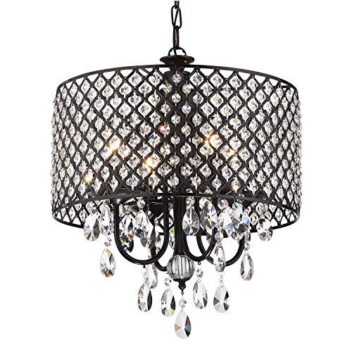 Edvivi Marya 4-Lights Antique Black Round Beaded Drum Shade Crystal Chandelier Ceiling Fixture | Glam Lighting