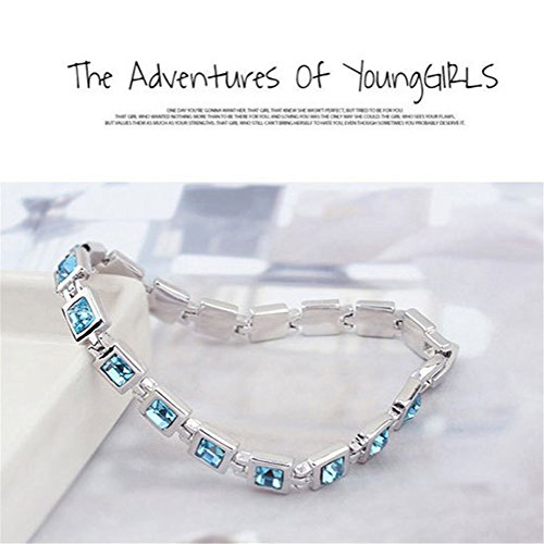 Aqua Brass Cut Collection - RIZILIA Tennis Bracelet & Princess Cut Crystal [Simulated Aquamarine] in White Gold Plated, 7