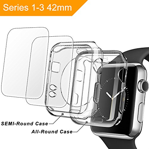 apple 42mm screen protector and case,[2+2 Pack]TIRIO Apple watch 3 case and Apple watch Screen Protector,Soft TPU all-around Ultra-Thin Clear Cover for Apple Watch Series 3, Series 2 (42mm)