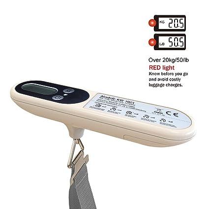Hinmay Báscula Digital para Equipaje, Capacidad de 50 kg, programable, Pesa Maletas y