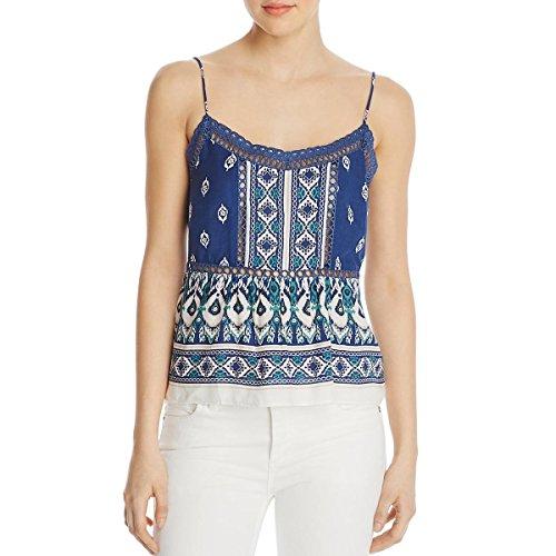 Ella Moss Fashion - Ella Moss Womens Printed Lace Inset Camisole Top Blue S