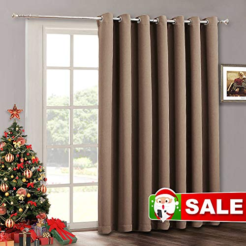 RYB HOME Patio Sliding Door Curtain Panel - Blackout Verical Blinds Living Room Window Curtains, Light Block Thermal Drape for Dining Farmhouse Cabin Room Divider, Wide 100 x Long 84, Cappuccino (Window Shades Patio)
