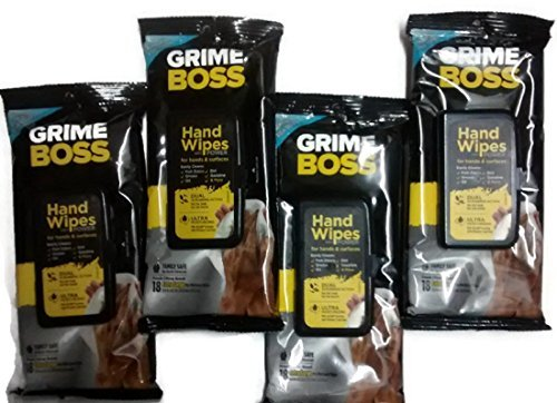 Grime Boss Extra Large Hand and Surface Wipes with Power-...