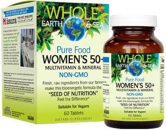 Factores naturales - toda la tierra y mar mujeres 50 + multivitamínico y minerales - nutrición alimento crudo, entero, cuenta 60